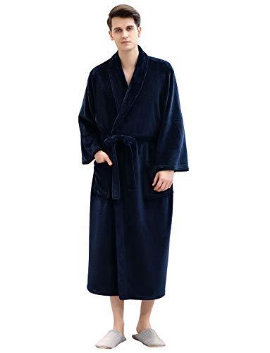 Artfasion Herren Bademantel Knielang weiche Ärmel Plüsch Schal Nachtwäsche Dusche Kimono Spa Plus Größe für Herren Bademäntel - Blau - X-Large - Plüsch-schals