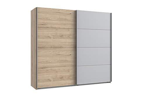 lifestyle4living Kleiderschrank 2-türig in Eiche-Dekor/hellgrau | Schwebetürenschrank mit viel Stauraum, ca. 225 cm breit - Hickory-schlafzimmer-möbel