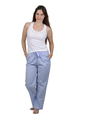 Vixenwrap Sky Blue Checkered Cotton Pyjama(M_Blue)