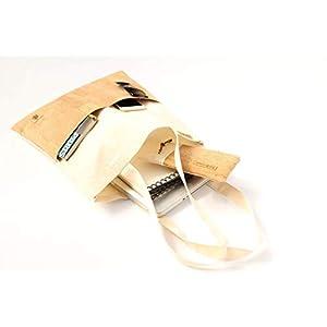 Jutebeutel aus Baumwolle in SAND mit 2 Außentaschen aus Kork-Leder in SAND. Braut-Party