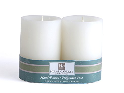 Hosley Unscented Pillar Candles - (4 inch, White, 2 Pieces)