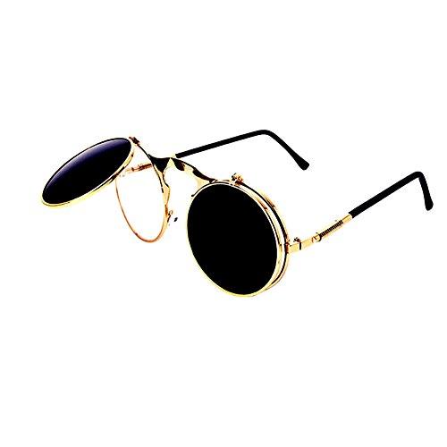 Meijunter Lunettes de soleil New Fashion Circle Retro Metal Frame Lunettes  de soleil Flip-Up 53c604879270