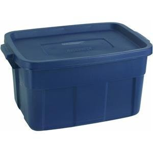 RUBBERMAID Roughneck Tote Container, Dark Indigo Metallic, 14-Gallon