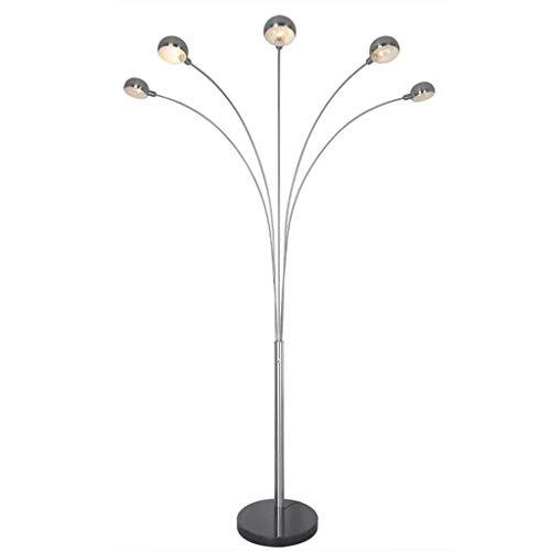 * Lampadaire de salon Lampadaire, Lampe incurvée multi-têtes à LED Lampadaire moderne à 5 bras, peut être placé dans le canapé du salon derrière la lampe de pêche à cinq têtes en acier inoxydable Salo