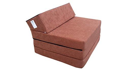 Natalia Spzoo El sillón de colchón Plegable para Invitados con Forma de sillón sofá Cama Plegable con colchón de la Cama, Braun-1000, 200 cm