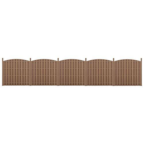 *neu.holz] 2X WPC Gartenzaun mit Rundbogen und Pfosten 185x932cm Braun Sichtschutz Windschutz Lamellenzaun Zaun*