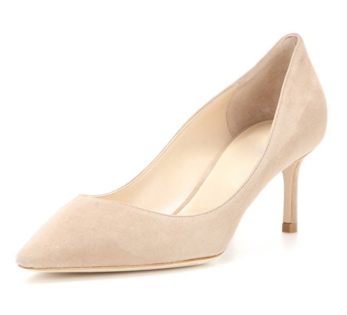 uBeauty Damen High Heels Wildleder Stilettos Slip-On Pumps Spitze Zehen Klassischer Übergröße Schuhe 65MM Heels Pumps Beige 38 EU