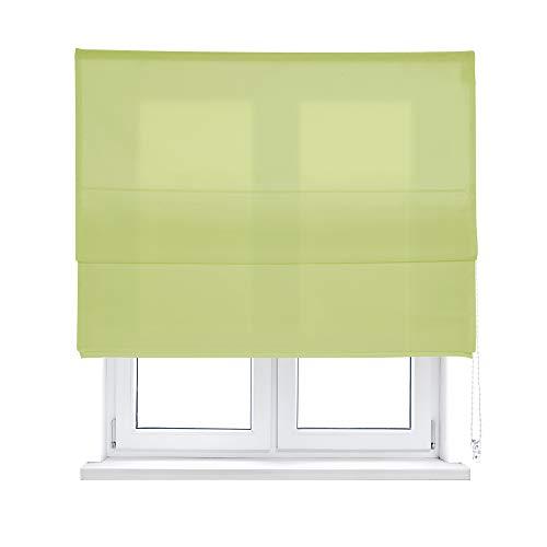 KAATEN - Estor Plegable con Varillas/Basico Color Verde/Tejido LONETA/ACCIONAMIENTO A CORDÓN (150_x_175_cm, Verde)