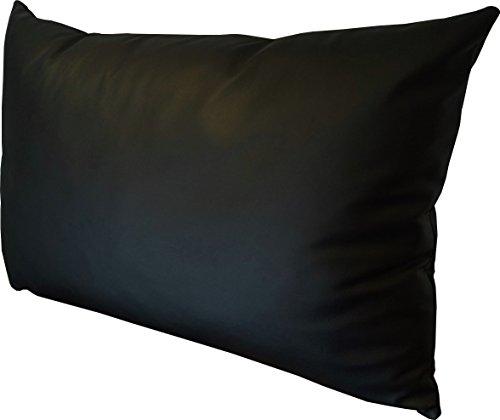 Schwarz Echt Lederkissen 40 x 50cm Sofa & Stuhl Deko Kissen Echtleder Rückenkissen Rindsleder - Volleder Leder Zierkissen modell 1el