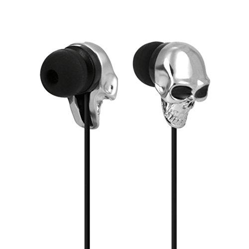 Xshuai 3.5mm In Ear Stereo Skull 1.3 m Kopfhörer Universal Headset Super Bass Musik Kopfhörer Ohrhörer Für Ios Und Android LG V20 Psp / iPod / MP3-Player (Gold Rosenrot Silber Weiß) (Silber)