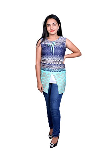 Premium Women's Printed Tops, Kurti Printed, Tunic for Daily Wearing with Jeans, Leggings, Jeggings - Stylish Casual and Western Wear Women, Girls Top - Large, Bluemix - Pattern 2