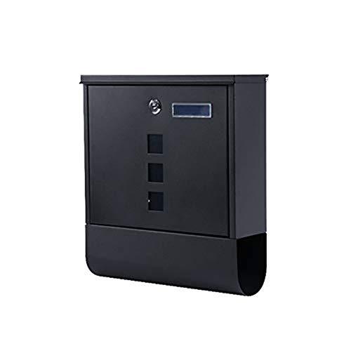 XJZxX Wall Mount Mailbox with Lock, vertikaler rostfreier Briefkasten mit Zeitung, Briefkastenhalter for Moderne Wohnhäuser im Freien, Edelstahl, Silber