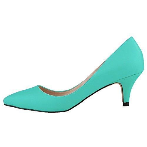 HooH Femmes Matte Glissement Bonbons Couleur De Travail Escarpins Turquoise