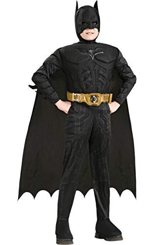 Mit Kinder Muskeln Batman Kostüm - Batman Dark Knight Rises - Kinderkostüm mit Muskeln, 4-teilig, günstiges Fasching Comic Kostüm - S