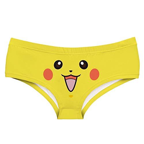 GZGJNK Niedlichen Cartoon-Muster Dame Unterwäsche niedlichen Pokemon Pikachu Squirtle Mädchen Slips Schädel Erdbeer Pilz Blume Frauen Höschen