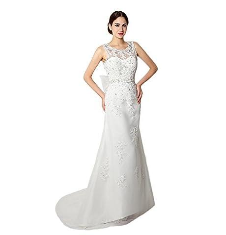 engerla Femme Bijoux de mariée en dentelle avec nœud A-Line Empire Cour Train robe de mariée - blanc - 36