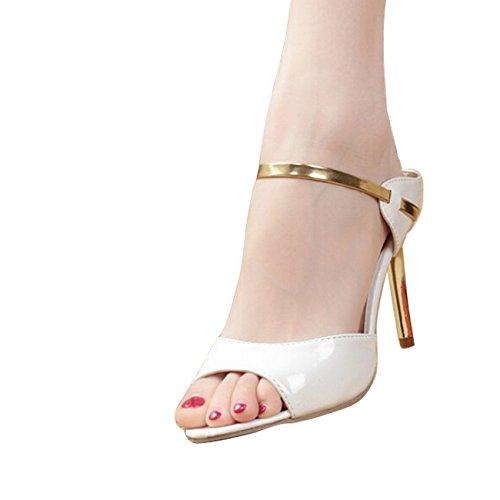 Gaorui Branco De Sandálias Das Verão Mulheres Partido Salto Sapatas Alto Prata Sexy Sandálias 7ATq7rw