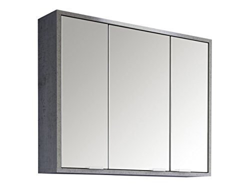 #trendteam SPA40135 Badspiegelschrank Beton Industry Nachbildung, BxHxT 77 x 46 x 35 cm#