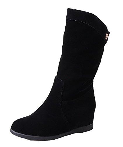 AgeeMi Shoes Femme Couleur Unie à Talon Correct Tire Suede Haut Demi Bottes Noir