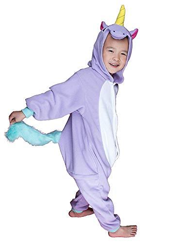 ABYED® Einhorn Kostüm Jumpsuit Onesie Tier Fasching Karneval Halloween kostüm Damen mädchen Herren Kinder Unisex Cosplay Schlafanzug, Lila Einhorn, Größe 115 - für Höhe: 126-135 cm (7-9 - Mädchen Für Erwachsenen Theater Kostüm