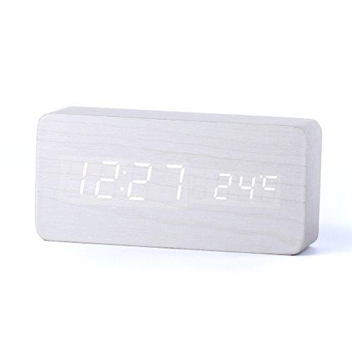 Forepin® Di Alta Qualità Digital Clock Legno Despertador Bianco LED Bianco di Legno Sveglia La Pensione con Data Temperatura Sound Control Tabella Orologio Digitale Alimentato da 3 Batterie AAA o Cavo USB (Bianco Legno + Bianco LED)