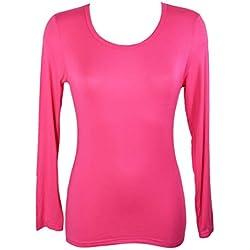 Miss Rouge: camiseta interior para mujer de manga larga, viscosa fucsia Talla única