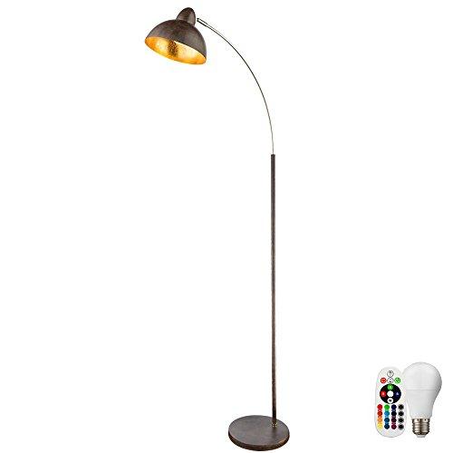 Stand Bogen Lampe Blatt-Gold Design Steh Leuchte FERNBEDIENUNG im Set inkl. RGB LED Leuchtmittel -