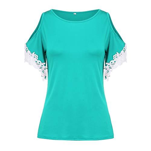 Zegeey Damen Oberteile T-Shirt Kurzarm Aus Festem Spitzen-Patchwork AushöHlen Bluse Top Sommer Shirt(X17-Grün,EU-42/CN-XL)