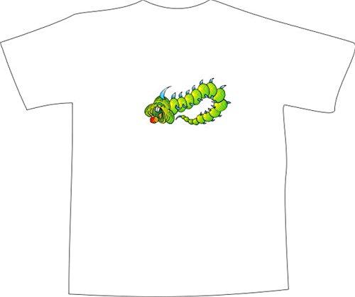 T-Shirt E857 Schönes T-Shirt mit farbigem Brustaufdruck - Logo / Grafik - Comic Design - riesige Raupe frisst Apfel Schwarz