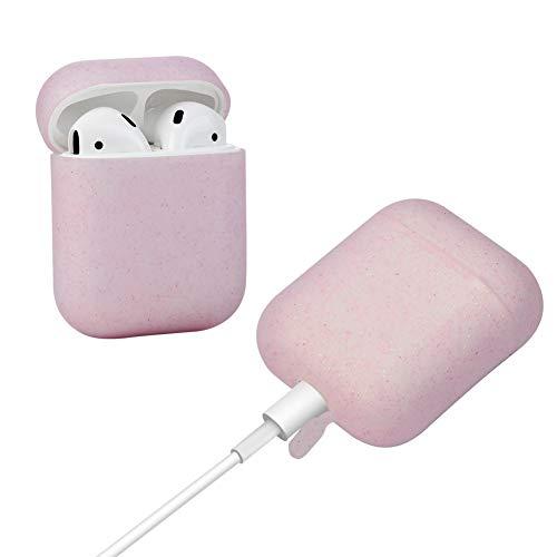 Teyomi Cover Airpods Apple Airpods Case Airpods Cover, Custodia Protettiva per AirPods, in Silicone con Fascia da Polso Sportiva,Custodia Caricabatterie (Clear Pink)