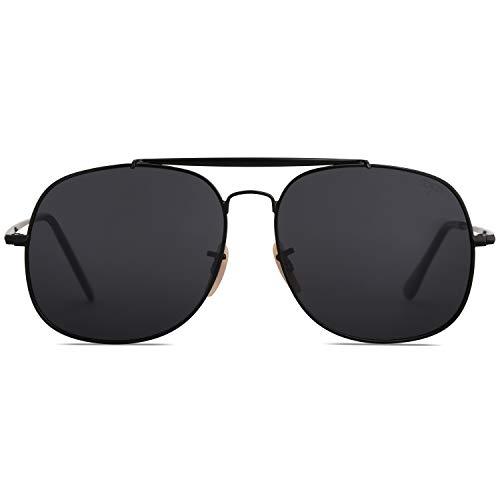 SOJOS Klassische Sonnenbrille Herren Damen Polarisierte SJ1107 mit Schwarz Rahmen/Grau Linse