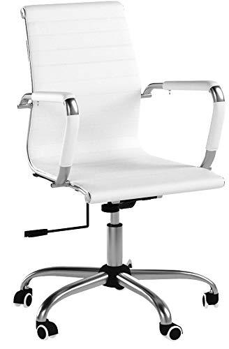 SVITA Design Bürostuhl Chrom Rahmen Elegance Chefsessel Drehstuhl Konferenz-Stuhl (Weiß, Niedrige Lehne)