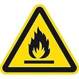 Schild Warnung vor feuergefährlichen Stoffen 20cm sl Alu gemäß ISO 7010, W021