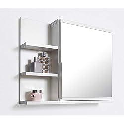 DOMTECH Dom Tech Cuarto de baño Espejo con estantes, Armario de baño Espejo Armario con Espejo, Color Blanco, L