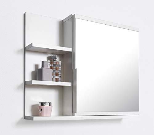 *DOMTECH Badezimmer Spiegelschrank mit Ablagen, Badezimmerspiegel, Weiß Spiegelschrank, L*