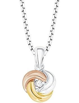 s.Oliver Damen-Kette mit Anhänger Knoten Tricolor 925 Silber teilvergoldet Zirkonia weiß 45 cm-2012639