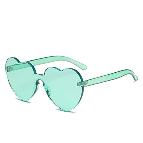 Kjwsbb Rotes Herz Sonnenbrille für Frauen 2019 neuheit randlose Sonnenbrille Candy Farbe Liebe Stil Mode rosa gelb Eyewear
