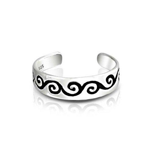 Metà anello fuso a snodo Swirl Sterling Silver regolabile convergenza di scorrimento degli anelli di incisione gratuita