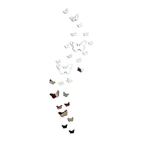 OVERMAL Miroir Mur Autocollant Papillon DéCor Mural Diy Art DéCo Des Vignettes Acrylique-Argent