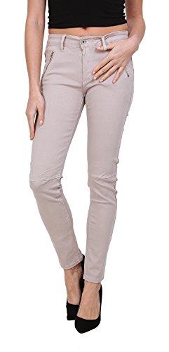 Onado Mujer Vaqueros Slim Pantalones Jeans Pitillos Denim Beige Stretch Talla 38