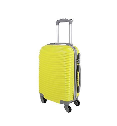 Trolley da cabina valigia rigida 4 ruote in abs policarbonato antigraffio e impermeabile compatibile voli lowcost come Easyjet Rayanair art 2030/ giallo piccolo