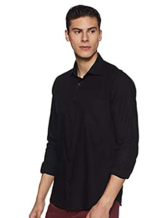Easies by Killer Men's Solid Slim fit Casual Shirt (85411 EA Oak E702UASFFSSC BK_Black M)