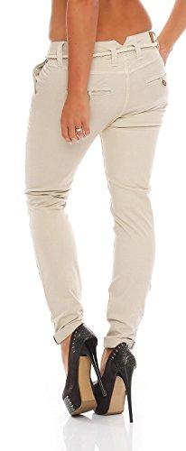 eight2nine damenhose d6053z61193en boyfriend trousers mit gürtel Light Beige