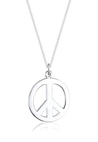 Elli Damen-Kette mit Anhänger Peace-Zeichen 925 Sterling Silber 01503473_45 - 45cm Länge