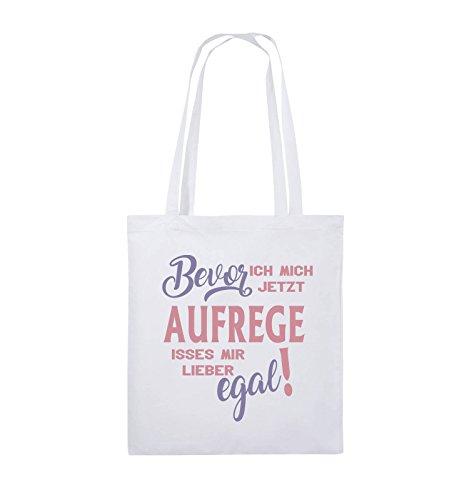 Comedy Bags - Bevor ich mich jetzt aufrege isses mir lieber egal! - Jutebeutel - lange Henkel - 38x42cm - Farbe: Schwarz / Weiss-Neongrün Weiss / Rosa-Violet