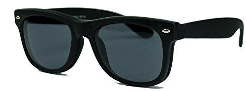 Retro Sonnenbrille mit Clip on Front Hipster Nerdbrille WO40 (Schwarz matt)