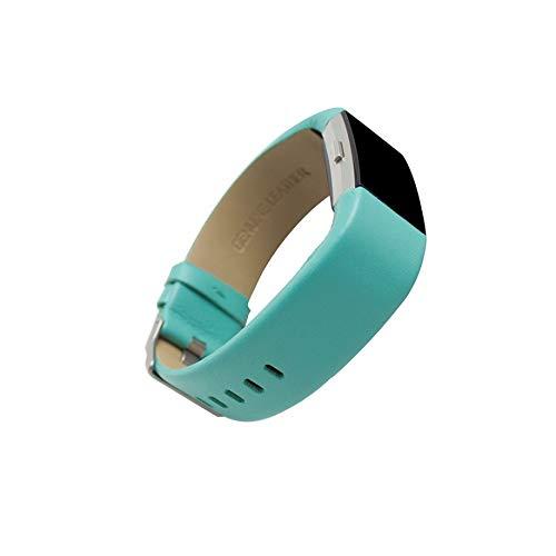 WAOTIER für Fitbit Charge2 Armband Leder Armband mit Edelstahl Verschluss Weicher Softer Leder Ersatzband für Fitbit Charge 2 Armband Business Casual Retro Armband für Männer und Frauen (Grün)