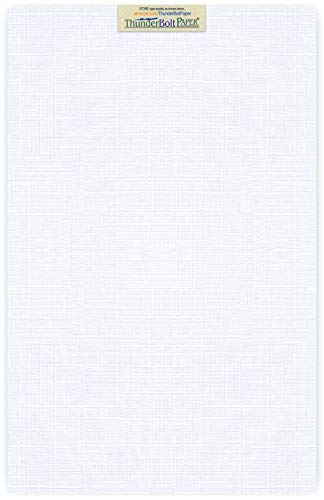 15 Bright White Linen 80# Cover Paper Sheets - 11 X 17 (11X17 Inches) Tabloid|Ledger|Booklet Size - 80 lb/pound Card Weight - Fine Linen Textured Finish - Quality Cardstock by ThunderBolt Paper