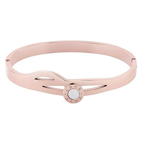 AnaZoz Bracelet Cuff Acier Inoxydable pour Femme Gravé love Round Ajouré Or Rose