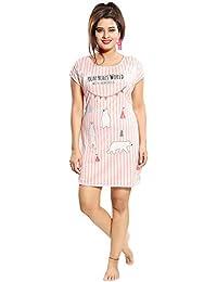 ICW Women's Cotton Hosiery Short Nighty (Large, Multicolour, scarf110)